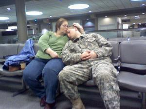 David Schantz - SPC Daniel Schantz and His Mom at the airport