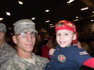 Jenni Dunfee - We drove all the way to Fort Drum, NY from Huntington, WV to welcome my little brother Sgt. Samuel McDowell home from Afghanistan. Her's Sam with my son Jake, who totally worships his uncle