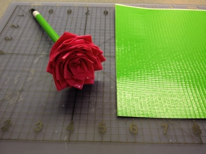 finished duct tape flower