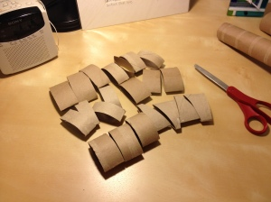 cut paper towel rolls for craft