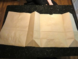 Recycle a paper grocery bag for wrapping paper