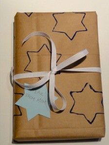 Make your own wrapping paper using a recycled paper grocery bag