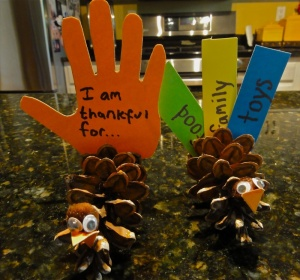 turkey pine cone craft messages of thanks